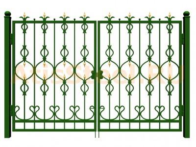 Распашные ковано-сварные ворота №13
