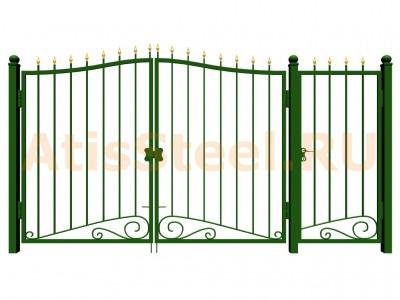 Распашные ковано-сварные ворота с калиткой №9