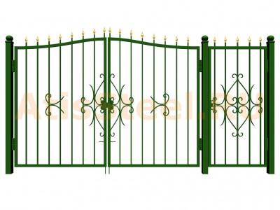 Распашные ковано-сварные ворота с калиткой №10