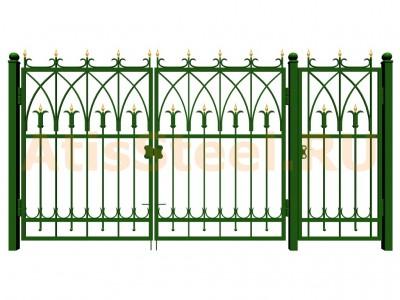 Распашные ковано-сварные ворота с калиткой №12
