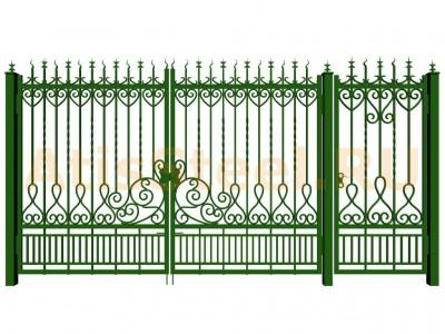 Распашные кованые ворота с калиткой №10