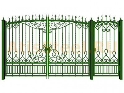 Распашные кованые ворота с калиткой №4