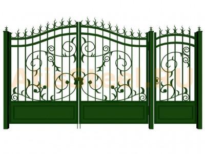 Распашные кованые ворота с калиткой №7