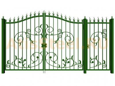 Распашные кованые ворота с калиткой №8