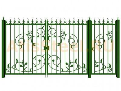 Распашные кованые ворота с калиткой №9