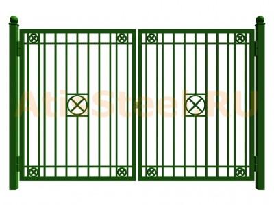 Распашные сварные ворота №17