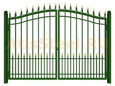 Распашные сварные ворота №19