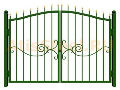 Распашные сварные ворота №23