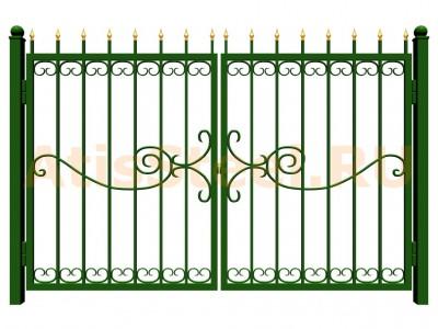 Распашные сварные ворота №33