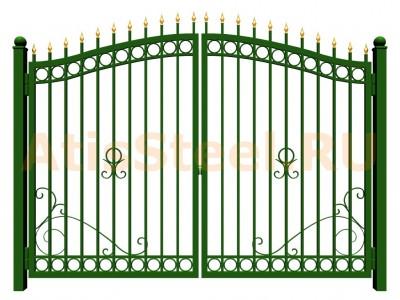 Распашные сварные ворота №35