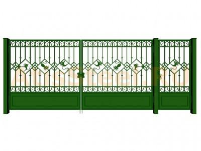 Распашные кованые ворота с калиткой №16 Вариант: 1