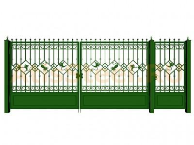 Распашные кованые ворота с калиткой №16 Вариант: 2