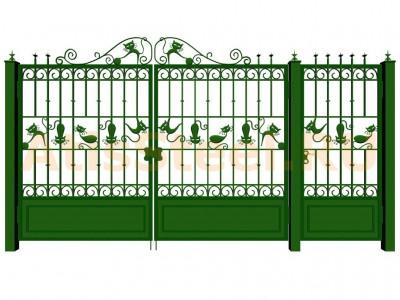 Распашные кованые ворота с калиткой №15 Вариант: 1