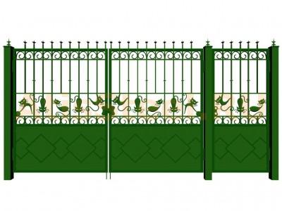 Распашные кованые ворота с калиткой №15 Вариант: 2