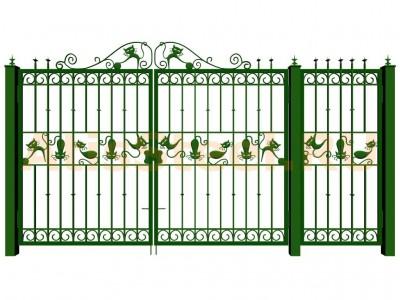 Распашные кованые ворота с калиткой №15 Вариант: 3