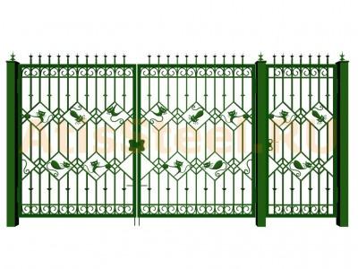 Распашные кованые ворота с калиткой №16 Вариант: 6