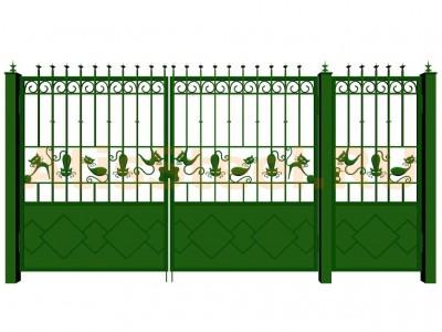 Распашные кованые ворота с калиткой №15 Вариант: 4