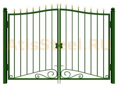 Распашные ковано-сварные ворота №9