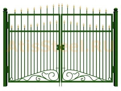 Распашные ковано-сварные ворота №11