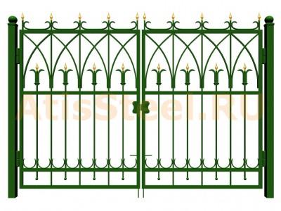 Распашные ковано-сварные ворота №12