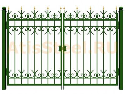 Распашные ковано-сварные ворота №14