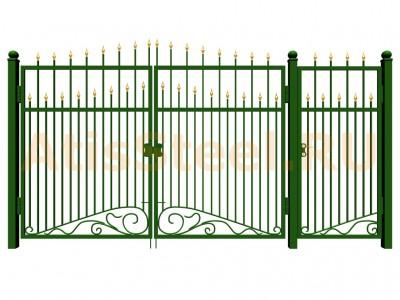 Распашные ковано-сварные ворота с калиткой №11