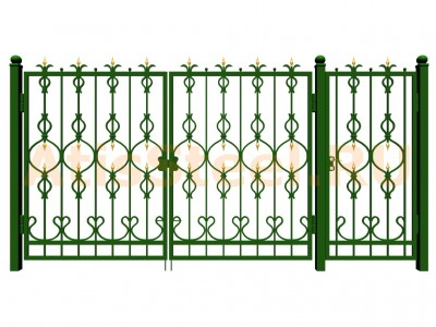 Распашные ковано-сварные ворота с калиткой №13
