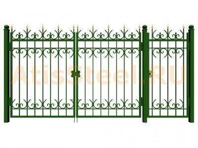Распашные ковано-сварные ворота с калиткой №14