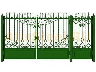 Распашные кованые ворота с калиткой №11