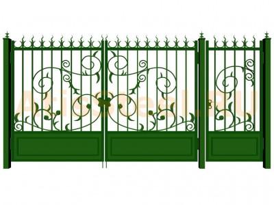Распашные кованые ворота с калиткой №12