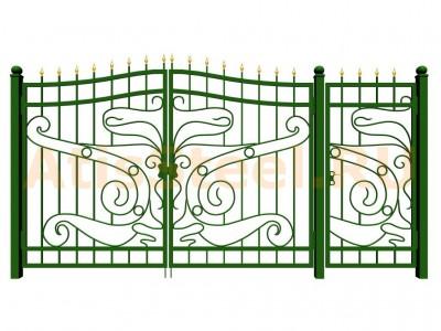 Распашные кованые ворота с калиткой №1