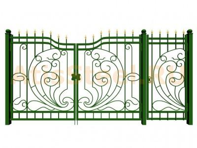 Распашные кованые ворота с калиткой №2