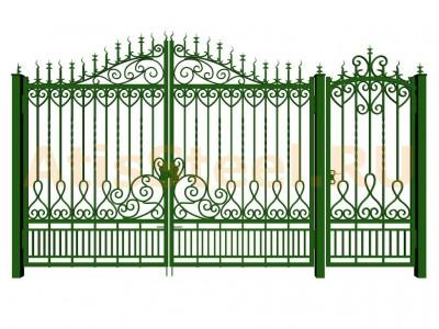 Распашные кованые ворота с калиткой №3