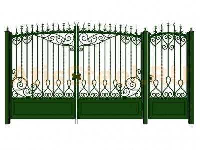 Распашные кованые ворота с калиткой №5