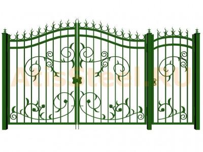 Распашные кованые ворота с калиткой №6