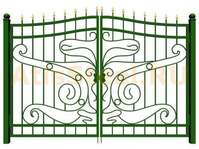 Распашные кованые ворота №2