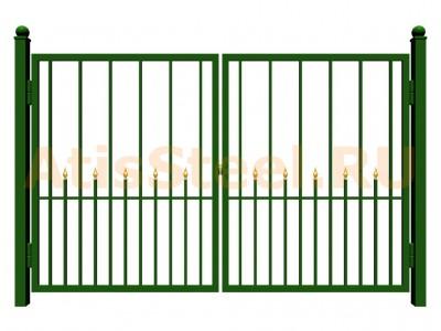 Распашные сварные ворота №18