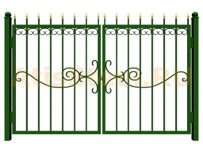 Распашные сварные ворота №32